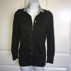 Vince. Gray Cashmere Cardigan Sweater Pockets SM